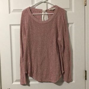 Loft Bow Back Pink Sweater